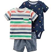 Carters Baby Boys 3-Piece Little Short Sets (Newborn, Navy Bugs)