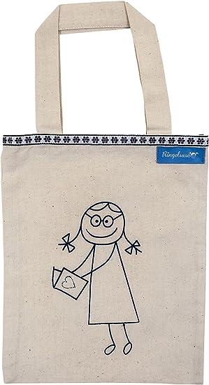 Bolsa para Libros Portalibros Beis Estampado Azul algodón 24 x 19 cm Ringelsuse: Amazon.es: Equipaje