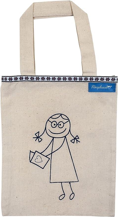 Bolsa para Libros Portalibros Beis Estampado Azul algodón 24 x 19 ...