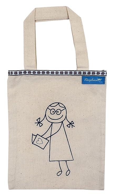 Bolsa para Libros Portalibros Beis Estampado Azul algodón 24 ...