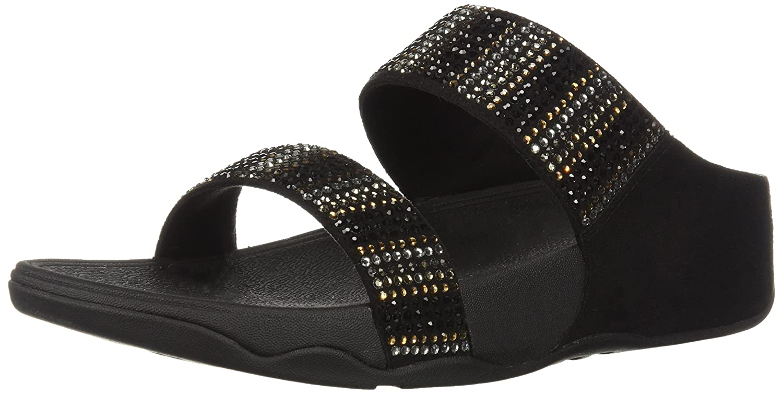 FitFlop Women's Flare Strobe Slide Sandal B0799BK1SY 11 B(M) US|Black
