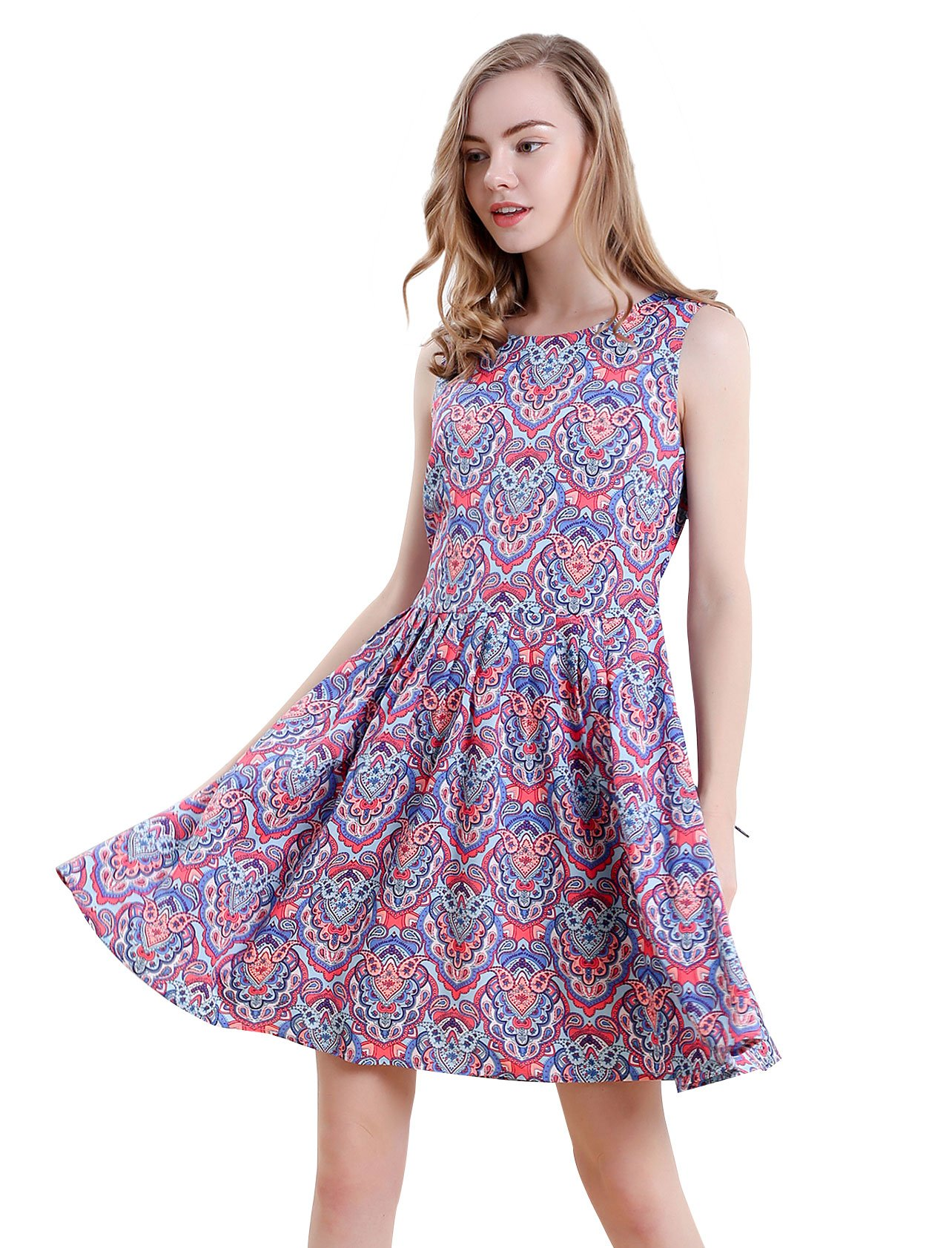 Vero Viva Women's Printed Sleeveless Summer Beach Midi A Line Tank Dress with Belt S