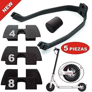 3dPrinted 3X Amortiguador de Goma 3D Flexible Anti holgura y vibración, 1x tapón Goma Patilla, 1x protección led para xiaomi mijia M365 M187 Scooter ...