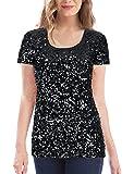 MANER Women's Full Sequin Tops Glitter Party Shirt Short Sleeve Sparkle Blouses S-3X