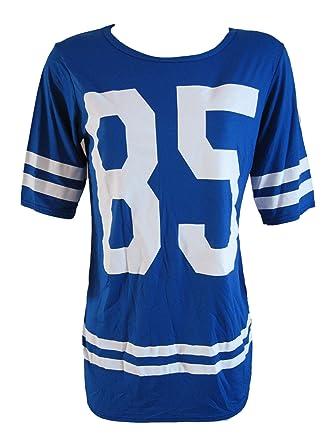 59d1a93a WOMENS KEZKEZ BLUE VARSITY LADIES RUGBY AMERICAN FOOTBALL BASEBALL T SHIRT  TOP (ML(12