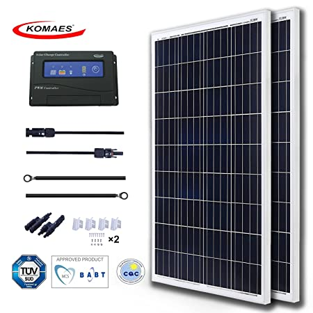 side facing komaes 200 watts 12volts polycrystalline solar panel kit