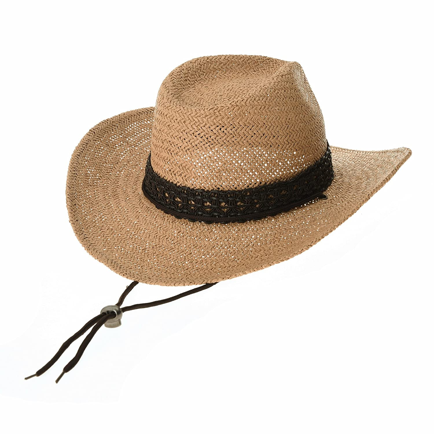 de86278c026 WITHMOONS Western Cowboy Hat Cool Paper Straw Banded Chin Strap GN8747  (Beige)  Amazon.co.uk  Clothing
