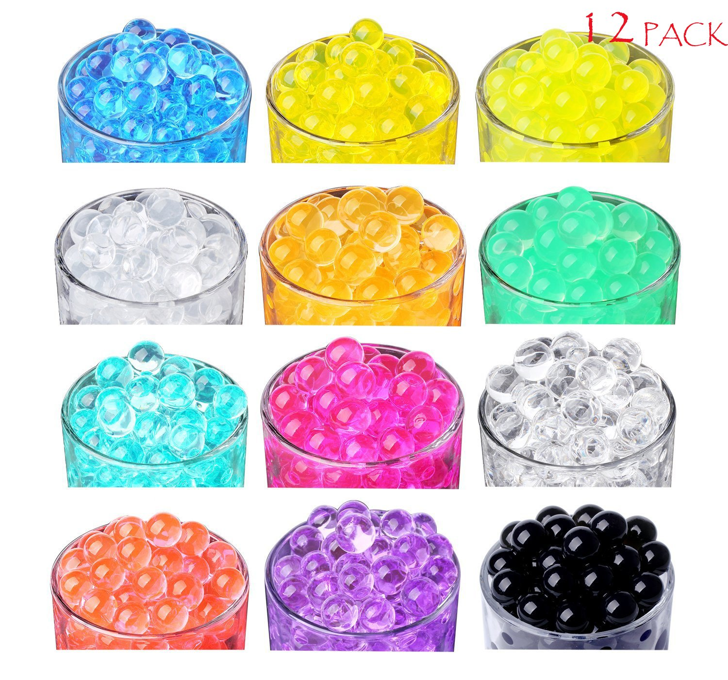 SHEING [12 Color Pack] Water Beads, Water Gel Beads Pearls for Vase Filler, Wedding Centerpiece, Home Decoration, Plants, Sensory Toy - 5 Grams per Pack