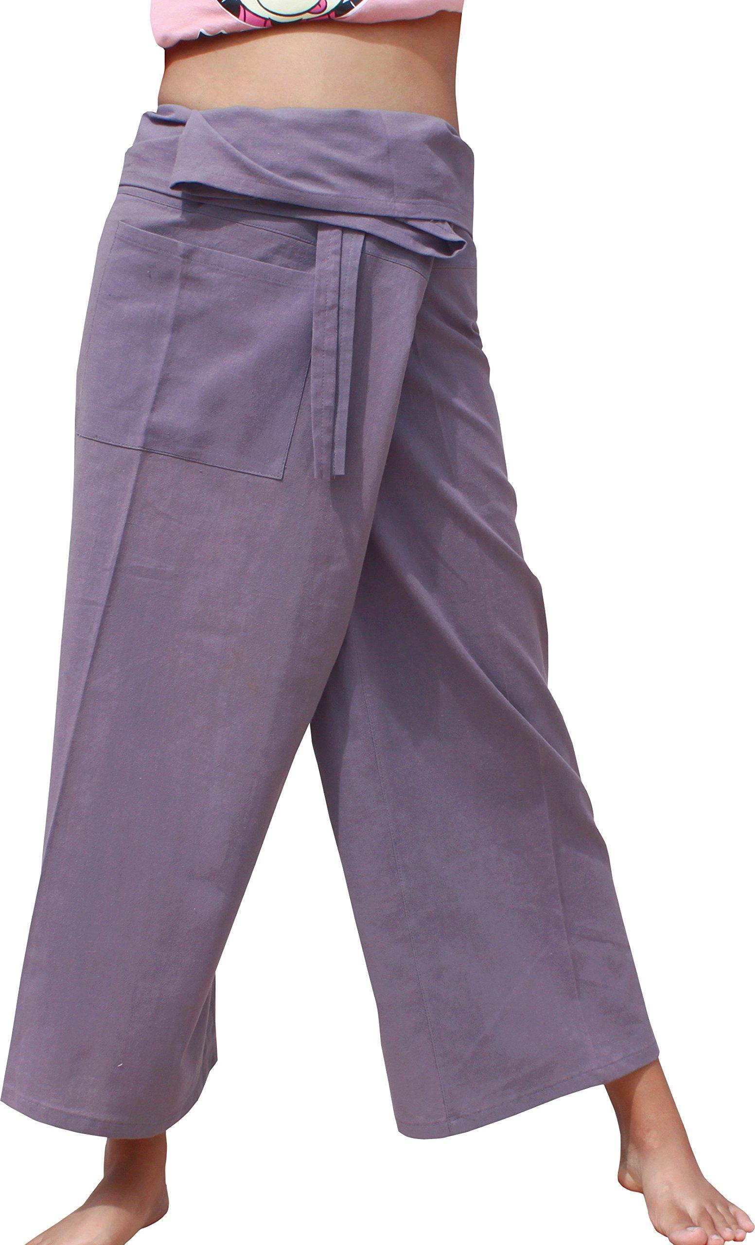 Raan Pah Muang RaanPahMuang Brand Light Summer Cotton Thai Plain Fisherman Wrap Pants Tall Cut, Medium, Cool Gray by Raan Pah Muang
