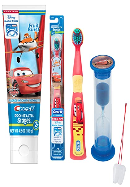 Disney Pixar Cars 3pc Bright Smile Oral Hygiene Set! Soft Manual Toothbrush, Toothpaste &