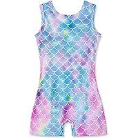Kids4ever Gymnastics Leotards for Girls Mermaid Unicorn Rainbow Toddler Biketards with Shorts Sparkly Unitard 3-7T