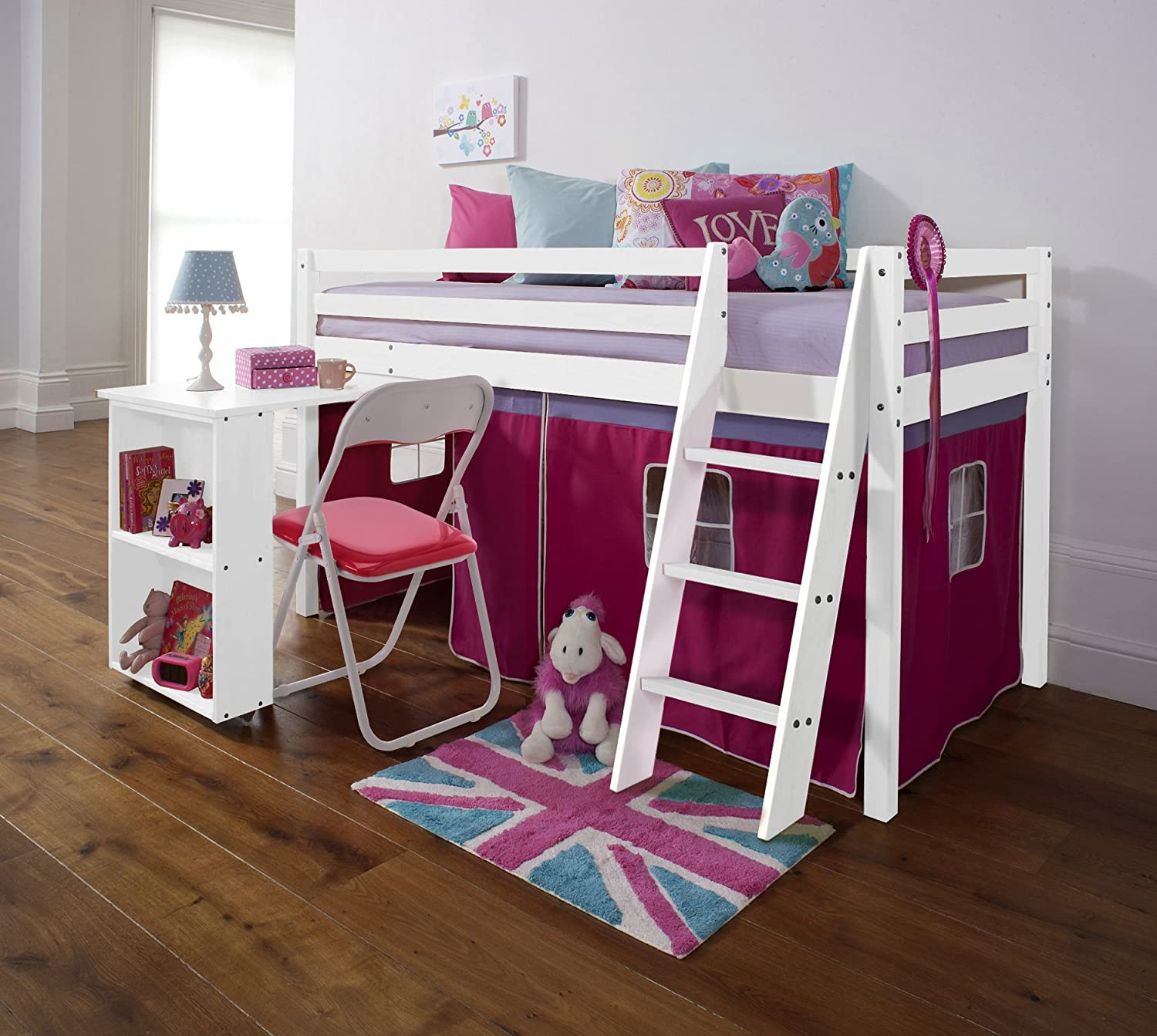 Noa and Nani Cabin Bed with Desk in PINK, WHITE, Mid SLeeper DESK-WG
