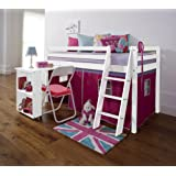 Cabin Bed with Desk in PINK, WHITE , Mid SLeeper DESK-WG