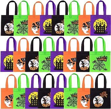 Whaline Halloween Bolsas no Tejidas 24 Pack Trick o Treat Bolsa de Regalo Reutilizable Candy Goodie Bolsas con Asas ...