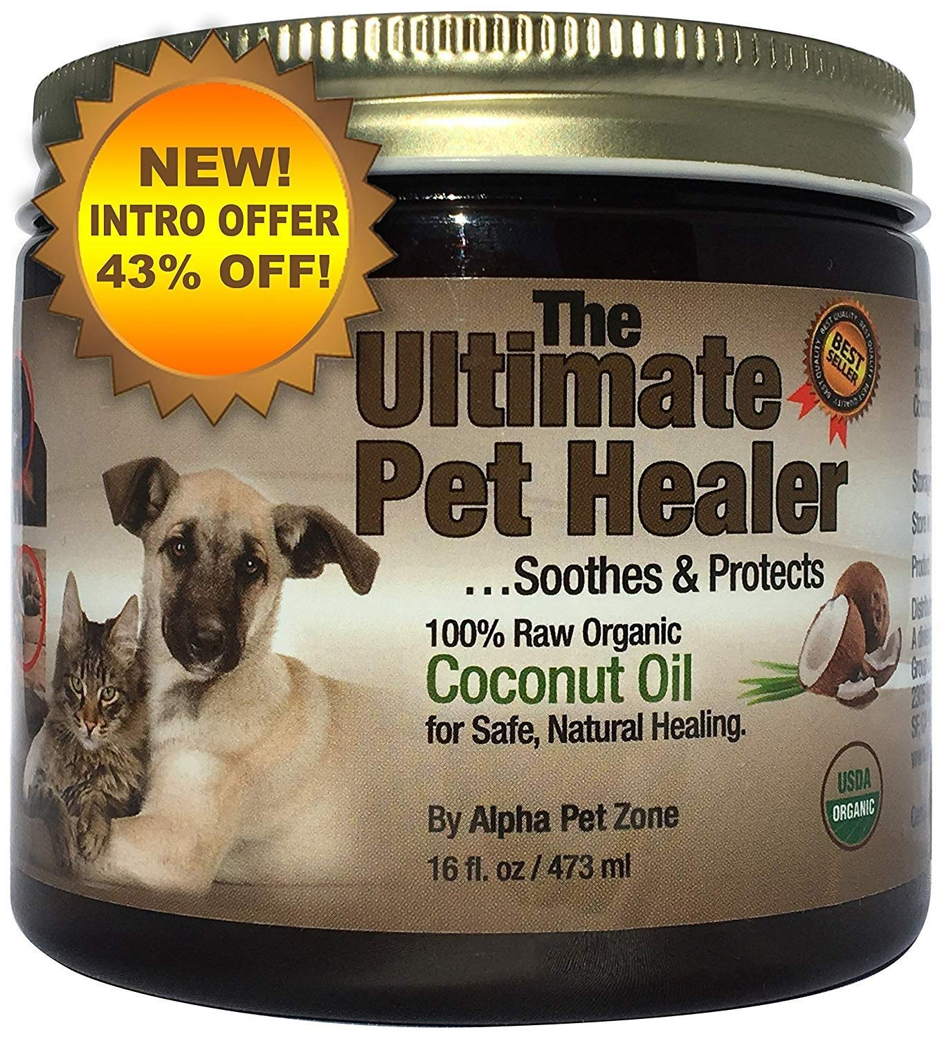 Alpha Pet Zone Coconut Oil for Dogs, Treatment for Itchy Skin, Dry Elbows, Paws and Nose (16 oz) by Coconut Oil for Dogs