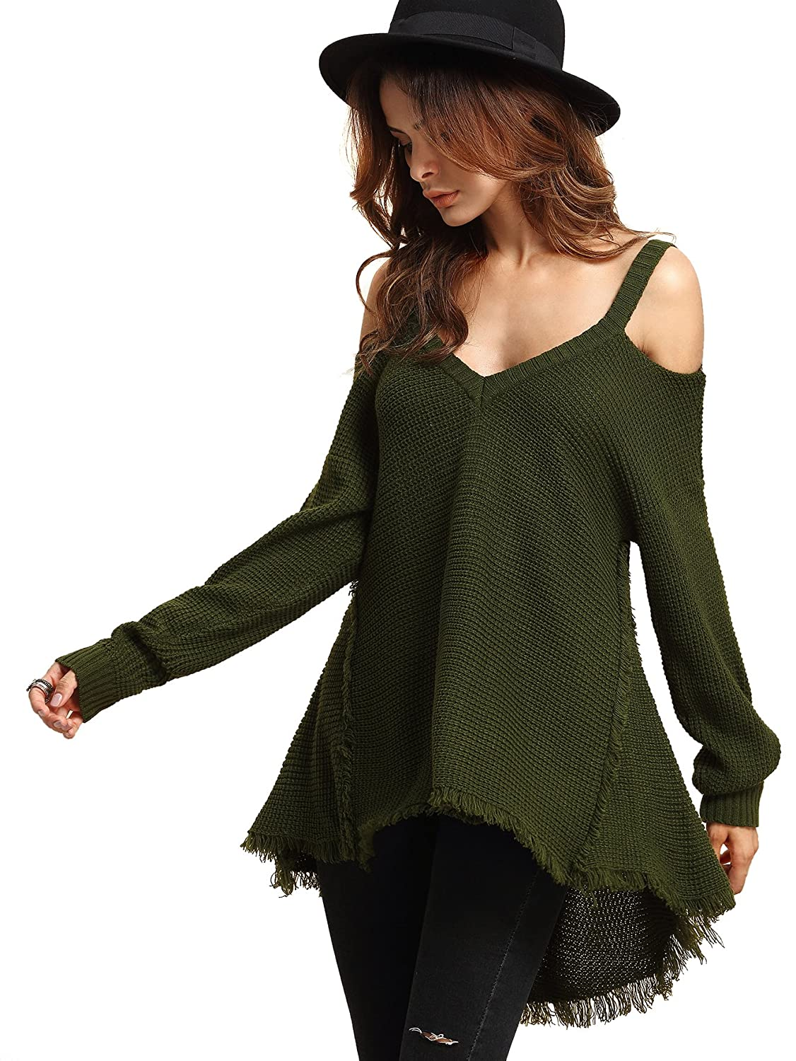 Milumia Women's Cold Open Shoulder Loose Knitted Sweater Top Blouse