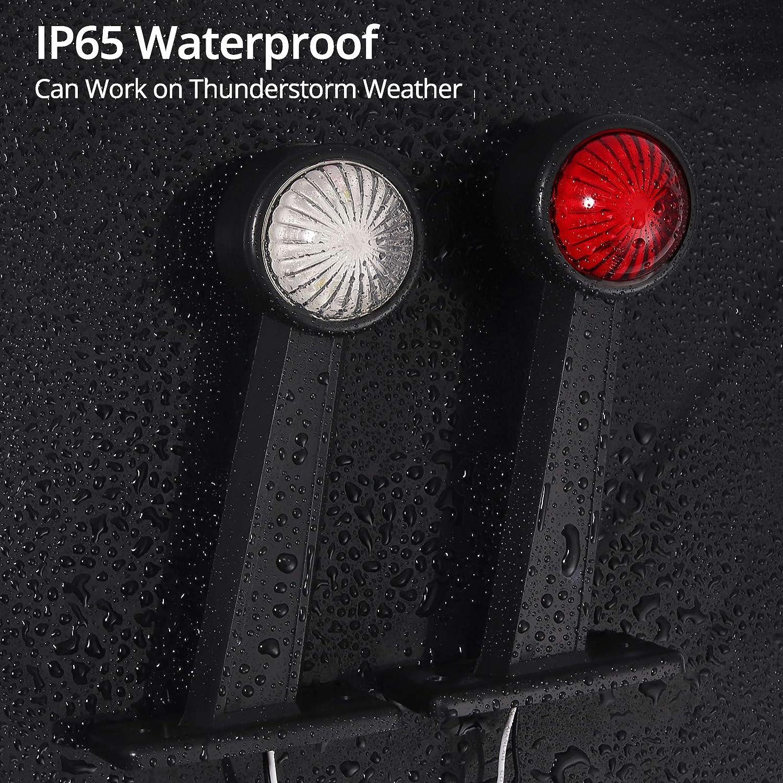 24V-17.78cm LiNKFOR 2 PCS 2x4 LED Feux de Position Lat/éraux E-mark E8 Super Lumineuse Feux Lat/éraux IP65 /Étanche /Éclairage Lat/éral de Remorque Blanc et Rouge avec Vis pour Camion Remorque 12