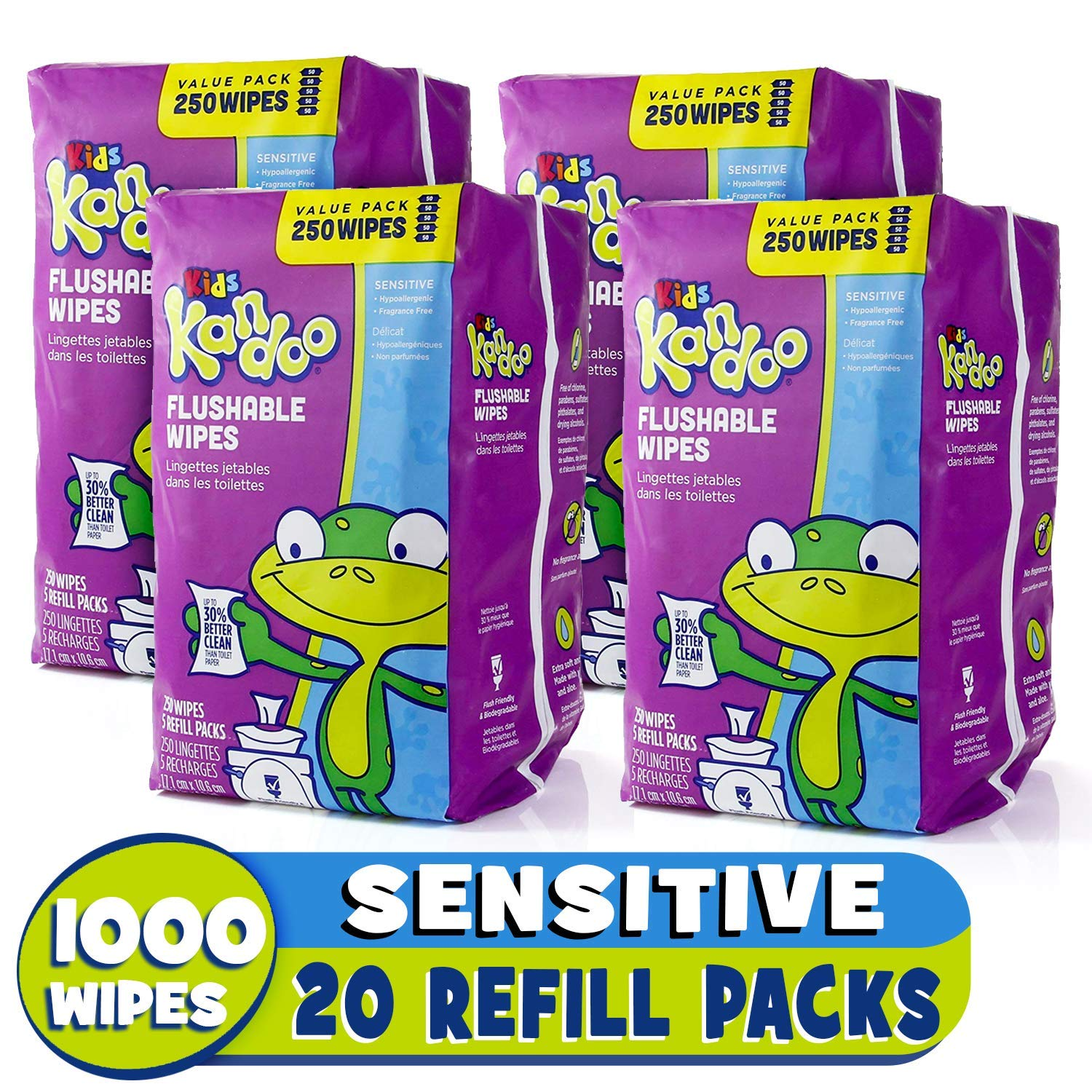 Kandoo Flushable Sensitive Wipes, 250 Count Refills, by Kandoo   B006KYCZ4O