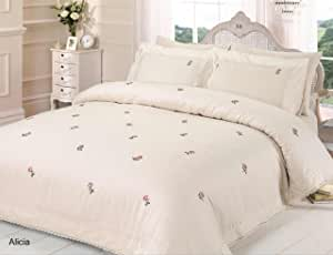 Rapport Alicia Floral Cream/Pink UK Super King Unfilled Duvet Cover and Pillowcase Set