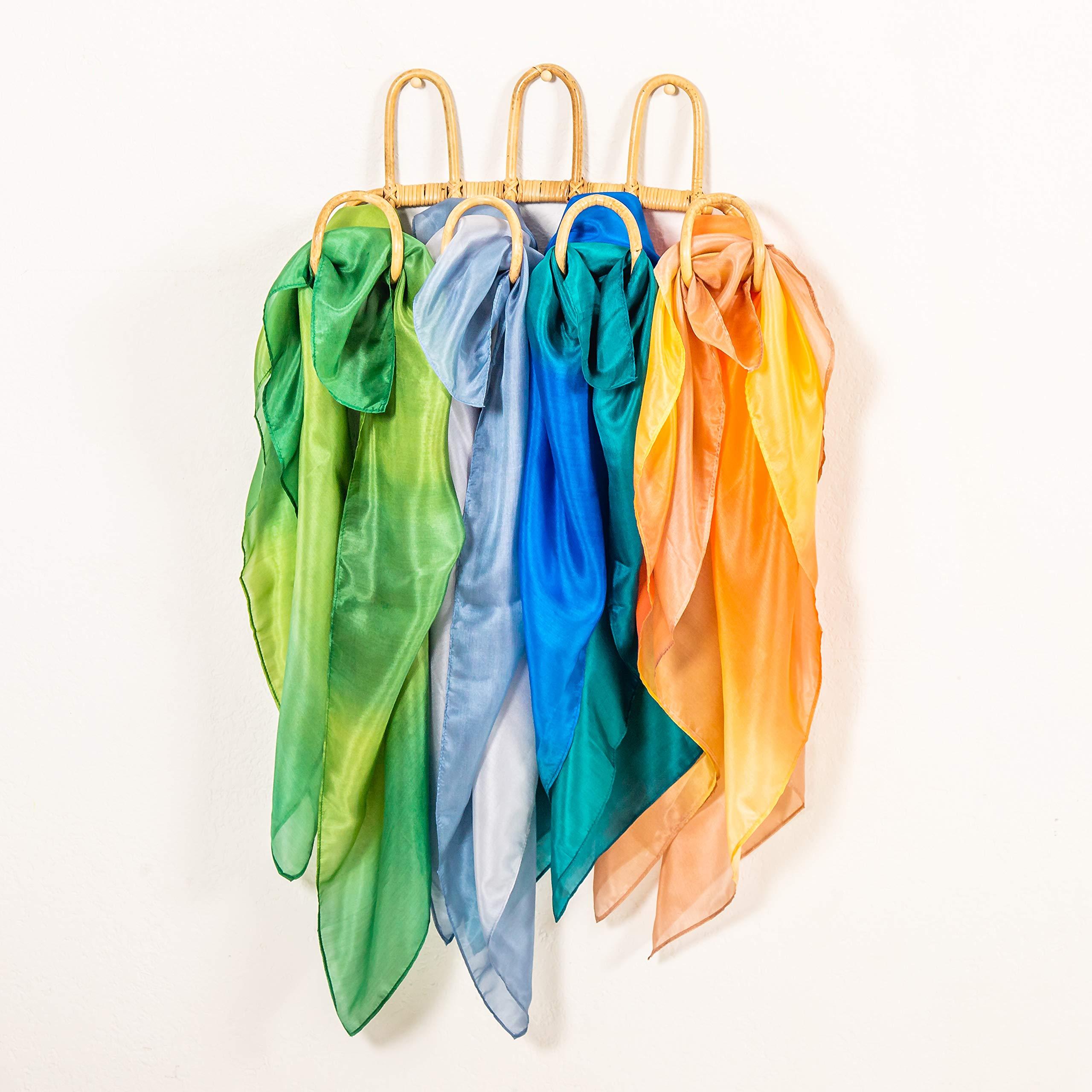 Eco-Friendly Dye Ocean Sea Set of 3 Playsilks Sarahs Silks 100/% Real Silk 35-Inch Square Silk Play Scarves