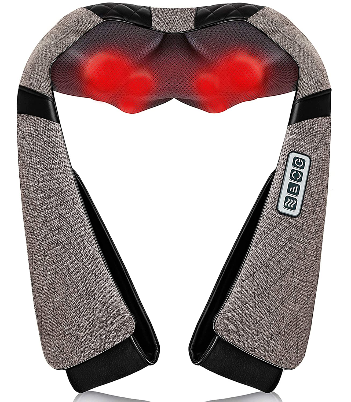 Neck Back Massager with Heat, Shiatsu Neck Shoulder Massager, Electric Neck Massage Pillow 3D Kneading for Neck,Back, Shoulder, Foot, Leg, Body Muscle Pain Relief