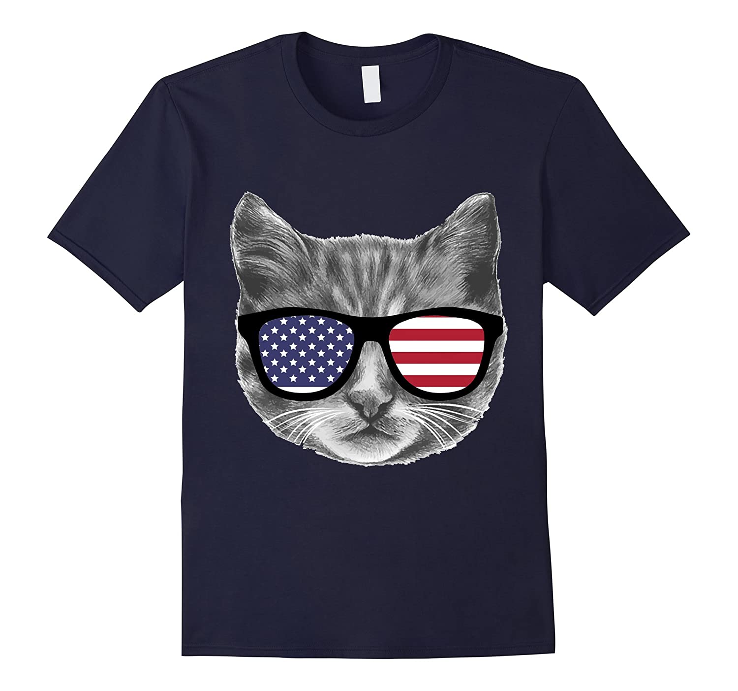 Labor Day T shirt USA Patriotic Cat Kitten American Flag-BN