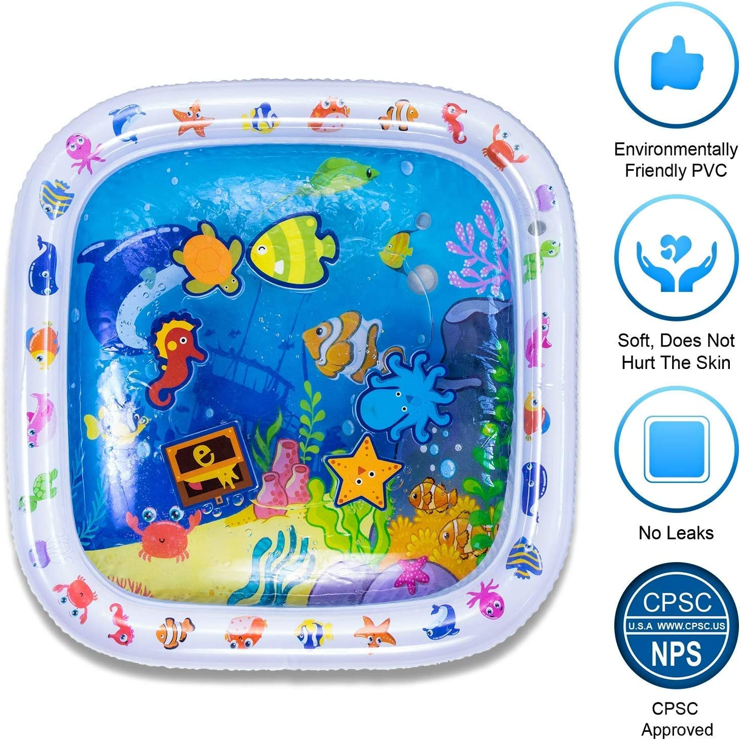 2020 Upgrade Design Infant Toys Inflatable Play Mat for 3-12 Months Newborn Baby Boys Girls Tummy Time Baby Water Mat Fun Activity Play Center for Babys Growth Brain Development
