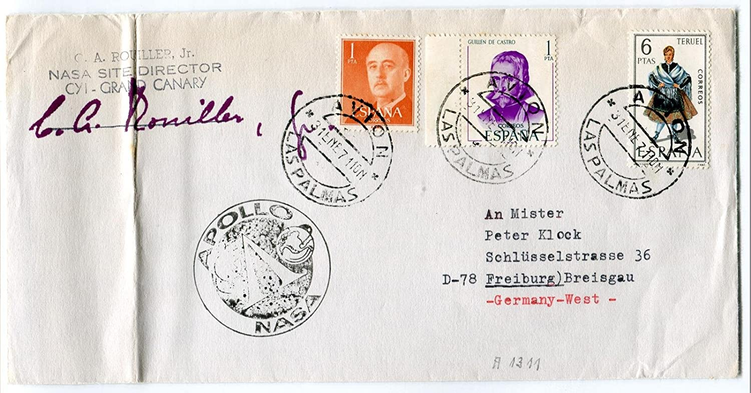 1971 Apollo NASA site director Las Palmas Germany West Space Cover SIGNED