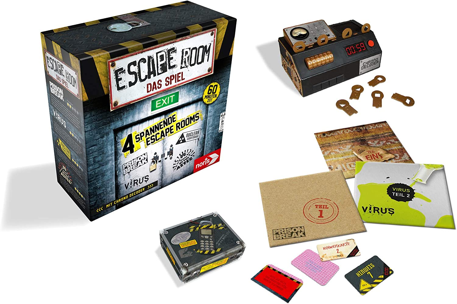 Noris Spiele 606101546 – Escape Room Incluye 4 Casos y Chrono ...