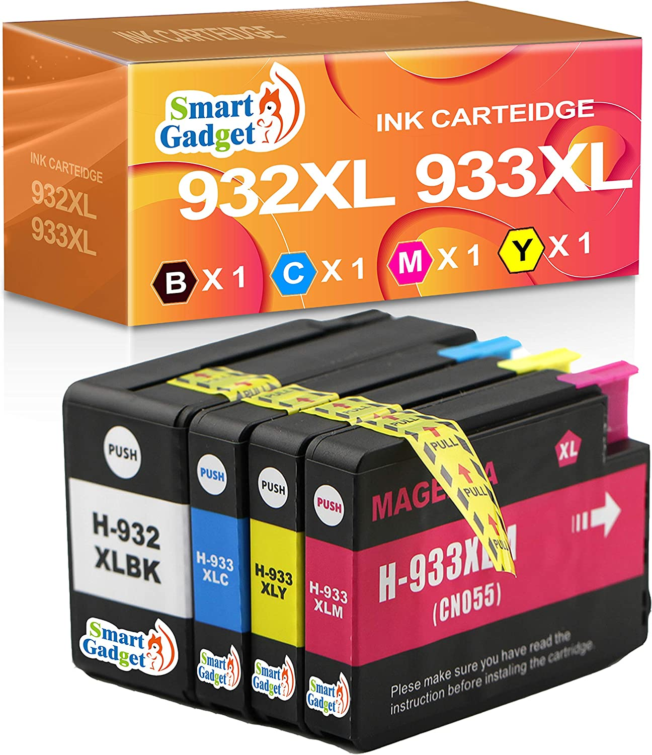 Smart Gadget Compatible Ink Cartridge Replacement for HP 932 933 932XL 933XL to use for Officejet 6100 6600 7612 7610 6700 7510 7110 Printer (4 Pack, Black,Cyan,Magenta,Yellow)
