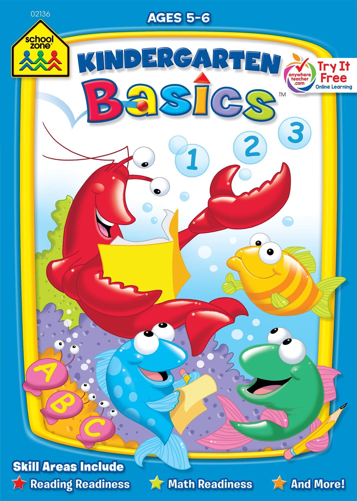 Amazon.com: School Zone - Kindergarten Basics Workbook - 32 ...