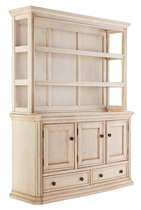 Ashley D6936061 Demarios Dining Room Buffet With Hutch Oak Veneers Heavy Mouldings And Shaped Fron Antique