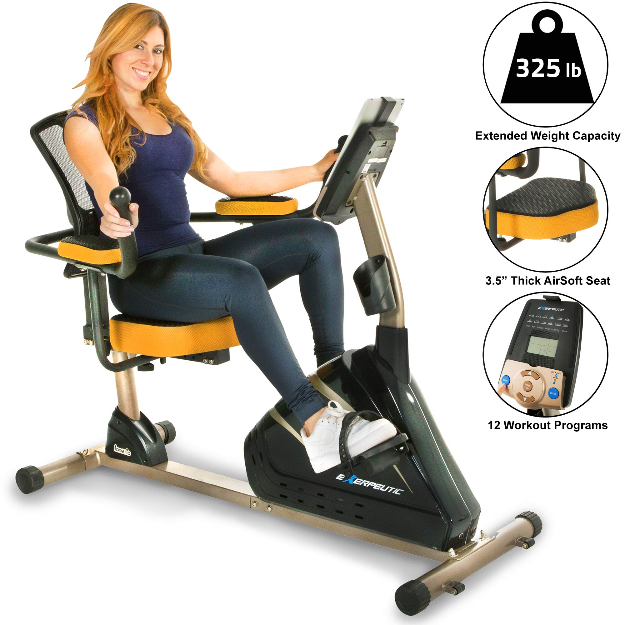 Exerpeutic 4000 Magnetic Recumbent Bike with 12 Workout Programs by Exerpeutic