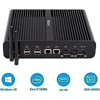 MEHRWEG,Intel NUC, Intel Core™ i7-5500U,Mini Desktop-PC,Mini PC,lüfterloser Mini PC, 2HDMI, 2LAN, 4USB3.0, 4USB2.0, WLAN, Bluetooth 4.2,(OEM No Key) (16GB RAM / 256GB SSD)