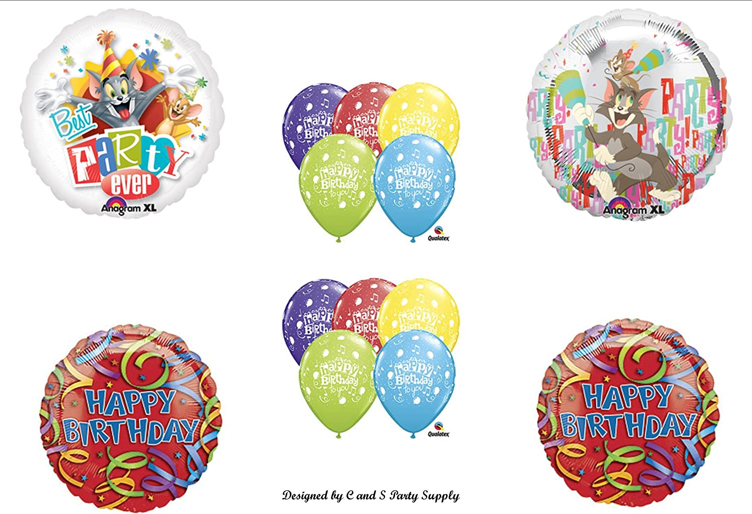 Amazon Com Tom And Jerry Happy Birthday Party Balloons Decorations Supplies Cartoon Network Kitchen Dining