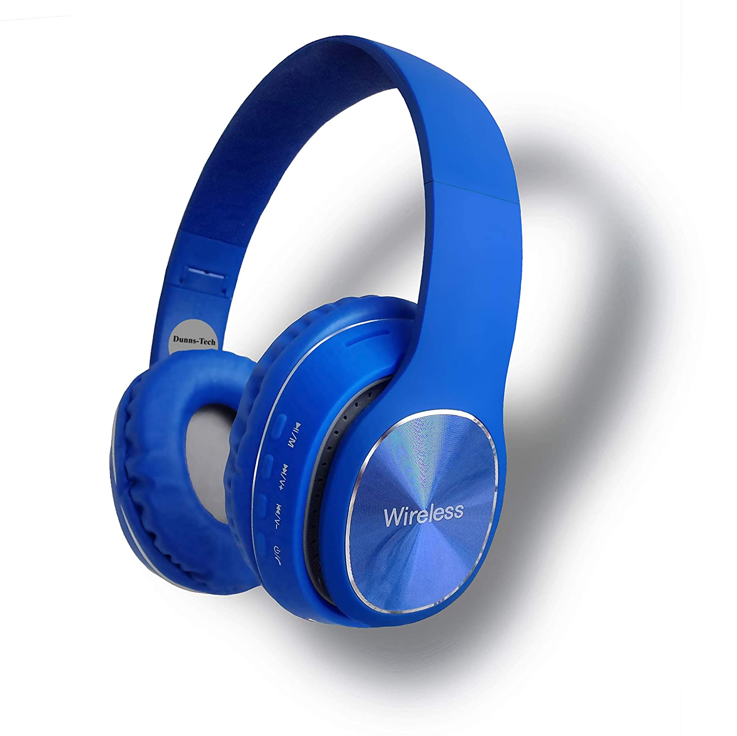 Bluetooth 5.0 Over-Ear Foldable Headphones with FM Radio | 16G Micro-SD Card Slot | 3.5mm Connector (Blue)