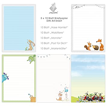 Cute Letter Paper Mix 5 X 10 Din A4 Sheets With Lines For Children