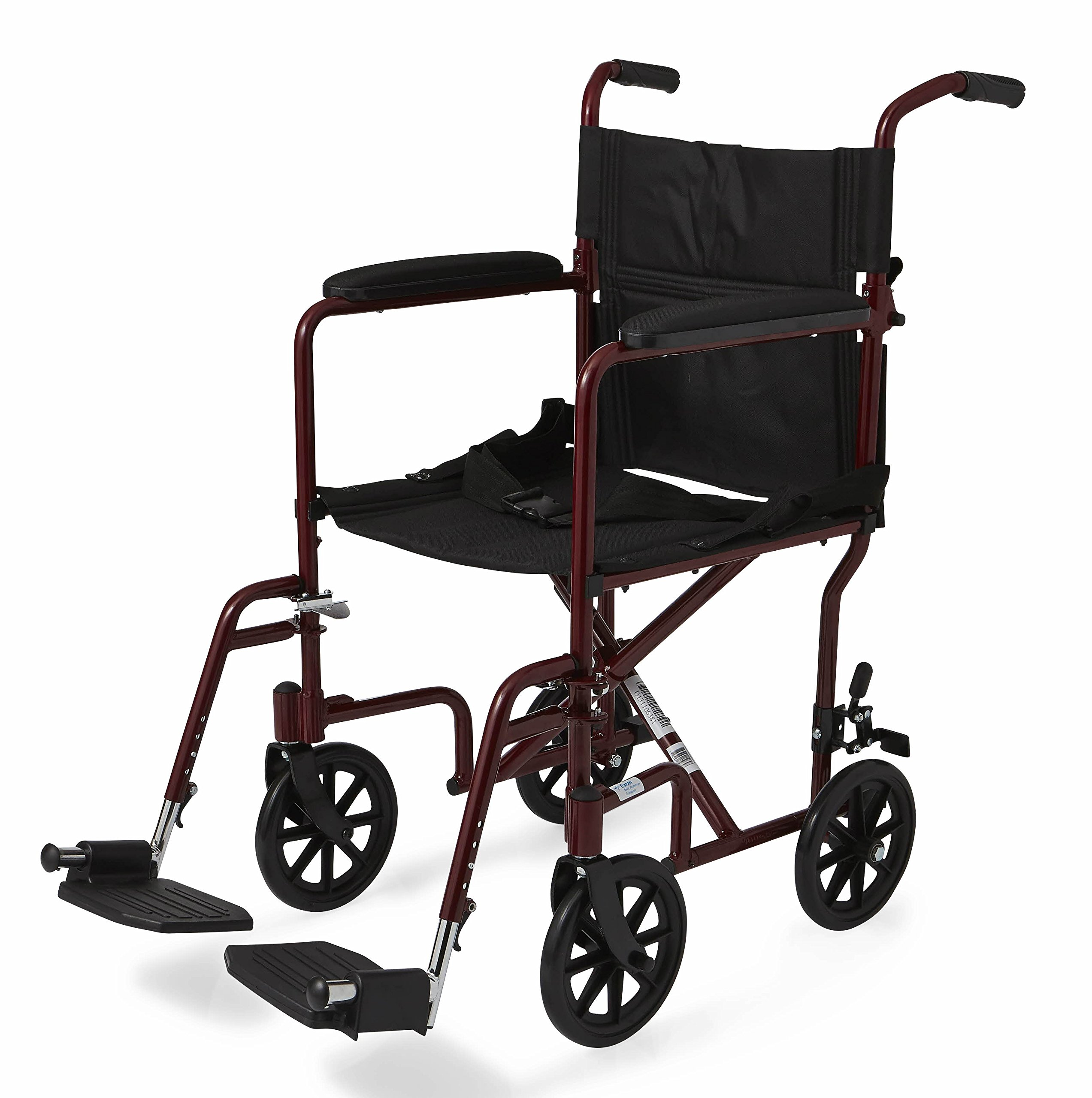 Medline Aluminum Transport Chair with Wheels, Red, 8 inch by Medline