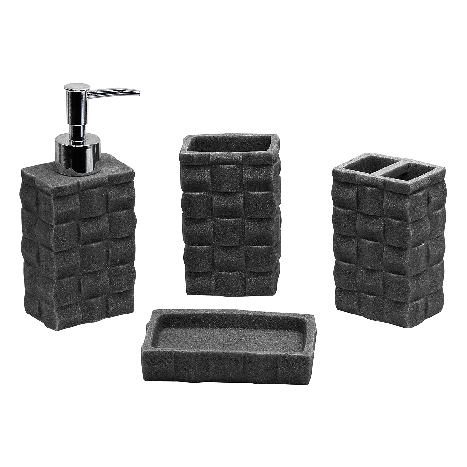 4pc Bathroom Accessories Set - Toothbrush Holder, Soap Dish, Soap/Lotion Dispenser, Tumbler, Dark Grey SQ Professional Others