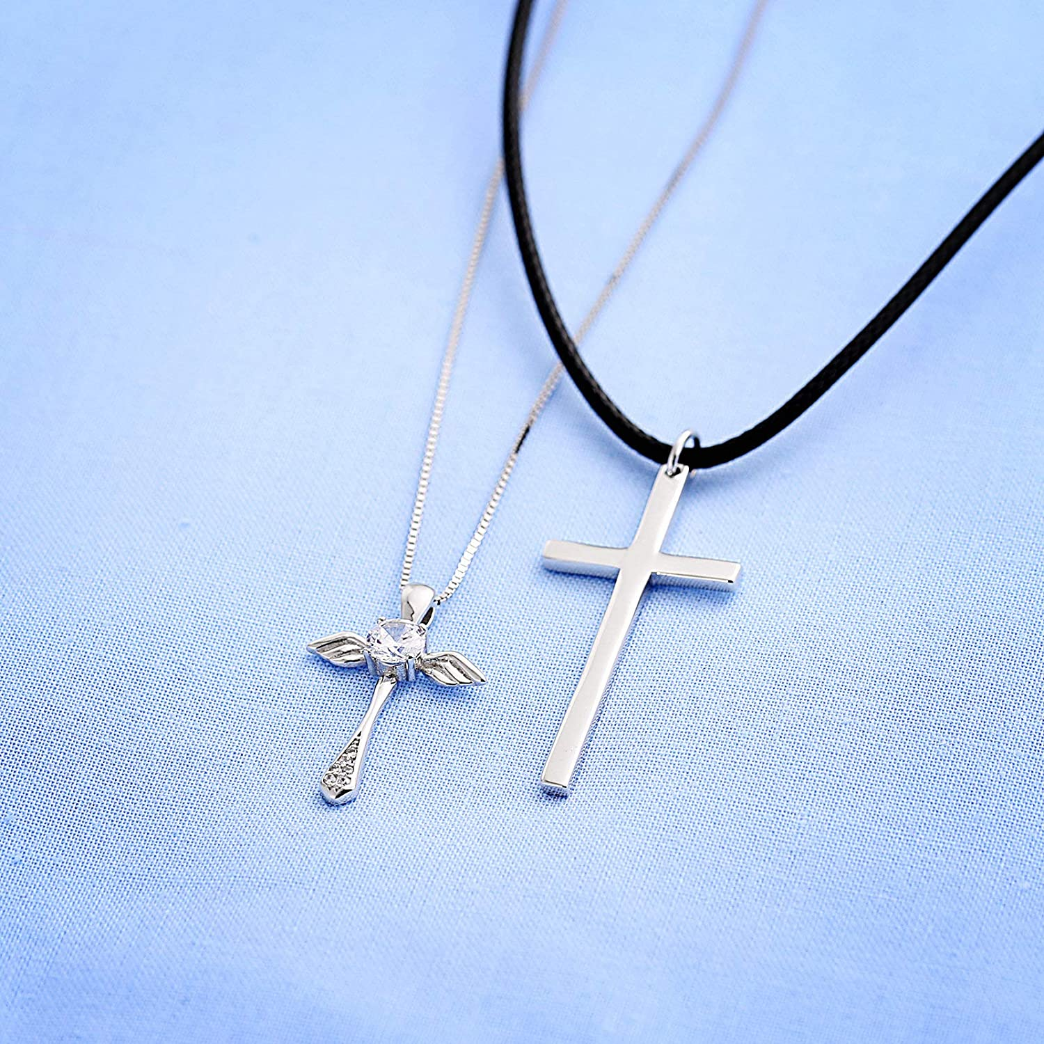 ANAZOZ Fashion Necklace Pendant Punk Style Stainless Steel Wing Silver Pendant Necklace for Women Men