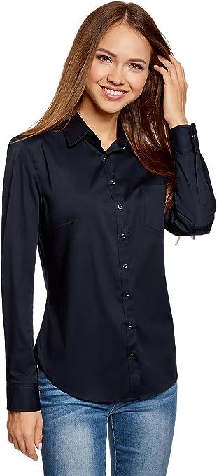 oodji Ultra Mujer Camisa Básica con un Bolsillo: Amazon.es: Ropa y accesorios