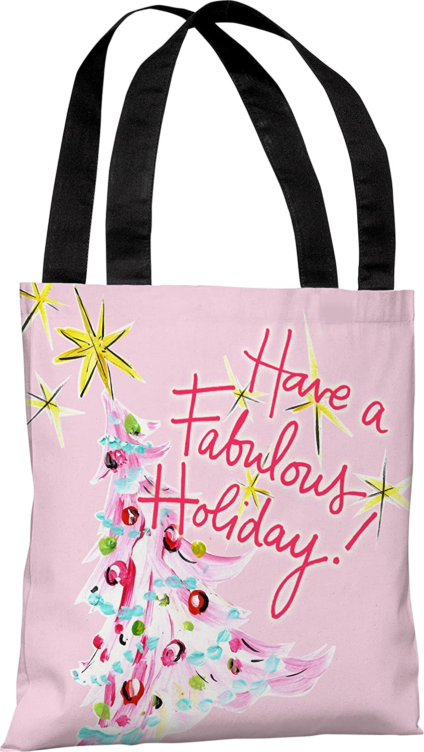 One Bella Casa Fabulous Holiday Tote Bag by Timree Gold 18x 18 Pink//Multi