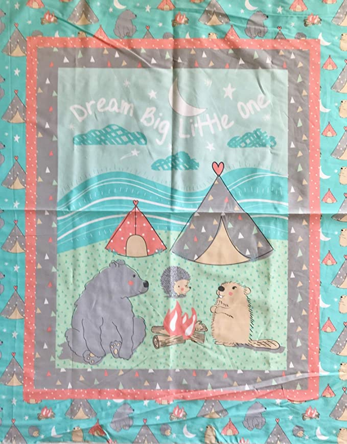 Baby Animals Dream Big Little One Camp Wee One Cotton Fabric Panel Great For Quilting Sewing Craft Projects Wall Hangings And More 35 X 44