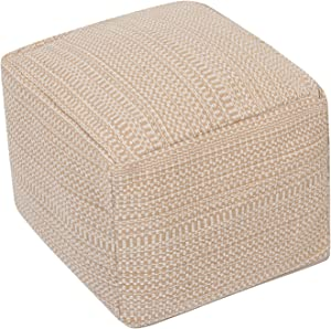 HIGOGOGO Pouf Cover, Unstuffed Ottoman Handwoven Foot Stool Square Braided Footrest Cover Unfilled Floor Pouf Cushion for Living Room Bedroom Home, Khaki, 16.5