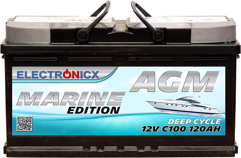 Agm Batterie 120ah Electronicx Marine Edition Boot Schiff Versorgungsbatterie 12v Akku Deep Bootsbatterie Autobatterie Solarbatterie Solar Batterien Auto