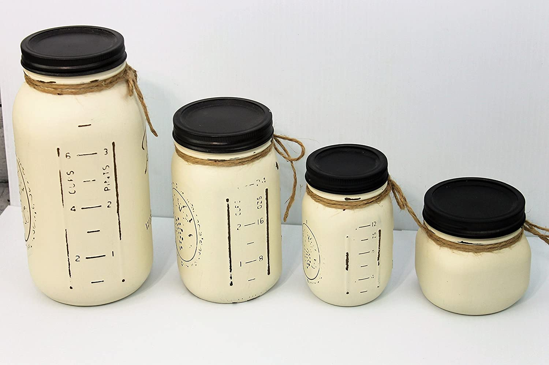 Set of 4 Ivory Painted Farmhouse Mason Jar Canisters