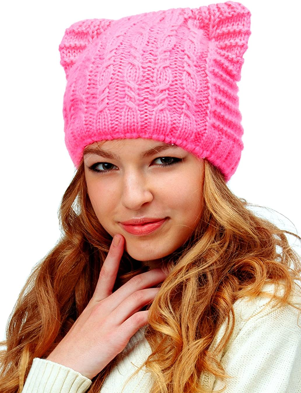 Pink Winter Hat w// CAT EARS /& Mittens Soft /& Cozy! Details about  /CAT Face Heart Nose