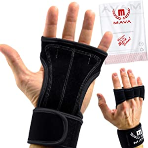 Mava Sports Leather Padding Gloves Cross Training Gloves with Wrist Support for WODs,Gym Workout,Weightlifting & Fitness-Leather Padding, No Calluses-Suits Men & Women-Weight Lifting