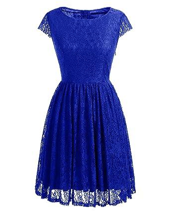Homrain Damen Vintage 1950er Kleider Spitzenkleid knielang festlich  Cocktail Abendkleid Royal Blue 3XL 4973c4b549