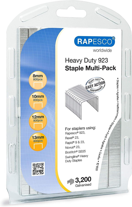 "Rapesco Heavy-Duty 923 (Type 23) Staple Multipack 5/16""-1/2"", Resealable Pack of 3,200 Staples (1246)"